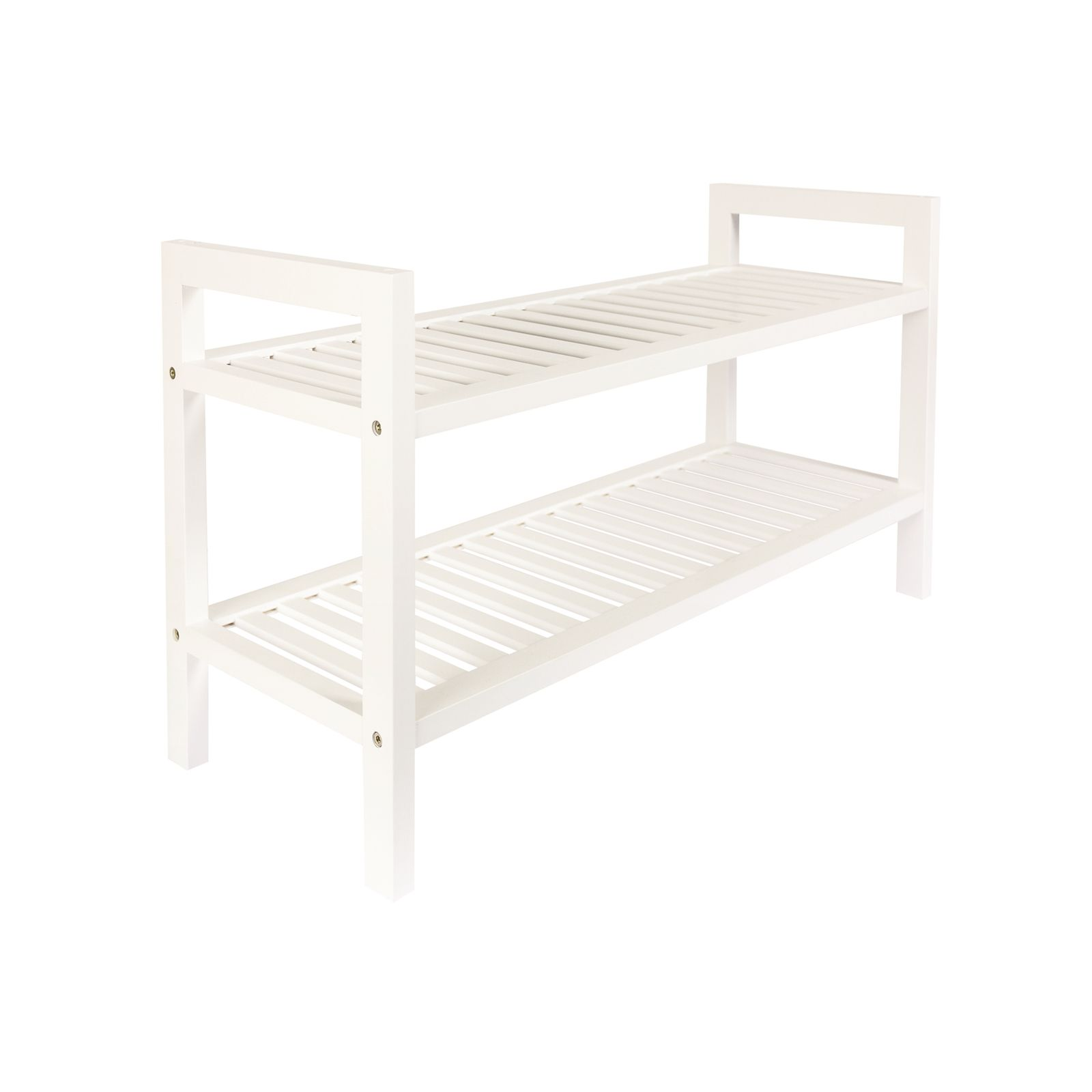 2 Tier White Wooden Shoe Rack At Bunnings Warehouse 29