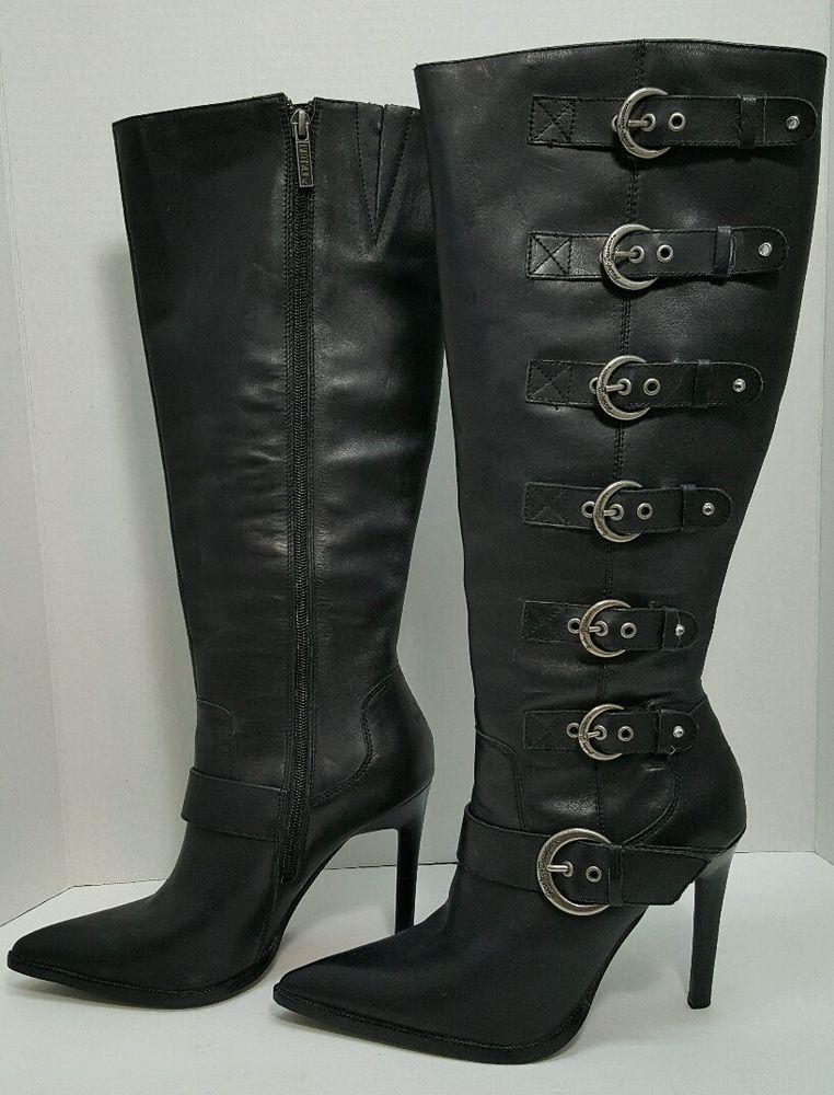 95ad654d18a Harley Davidson Janelle buckle sexy biker knee high heels boots pointed toe  7.5  HarleyDavidson  KneeHighBoots