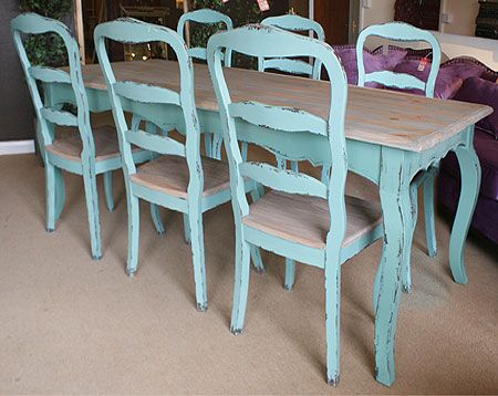 Nicole Turquoise French Dining Table And Chair Set