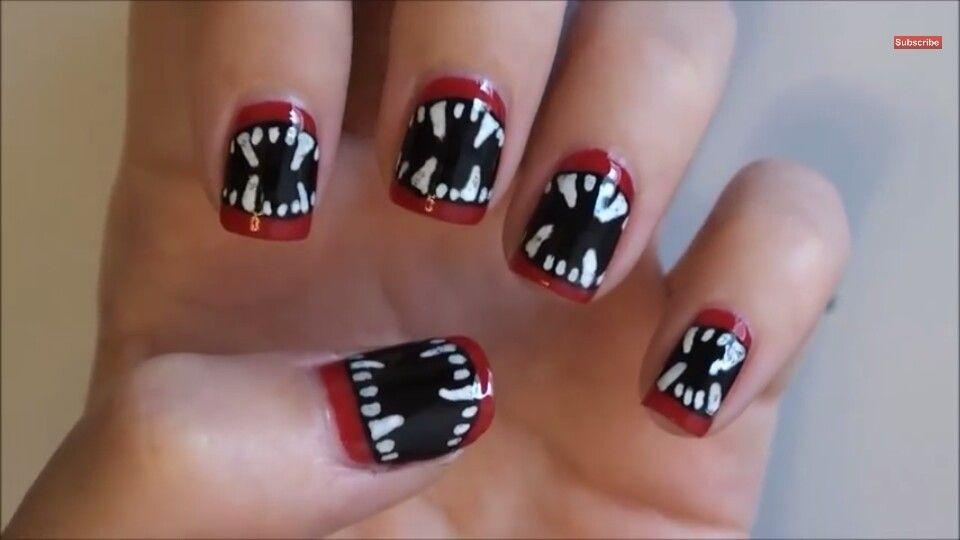 Vampire Teeth nails for Halloween   nails   Pinterest   Vampire teeth