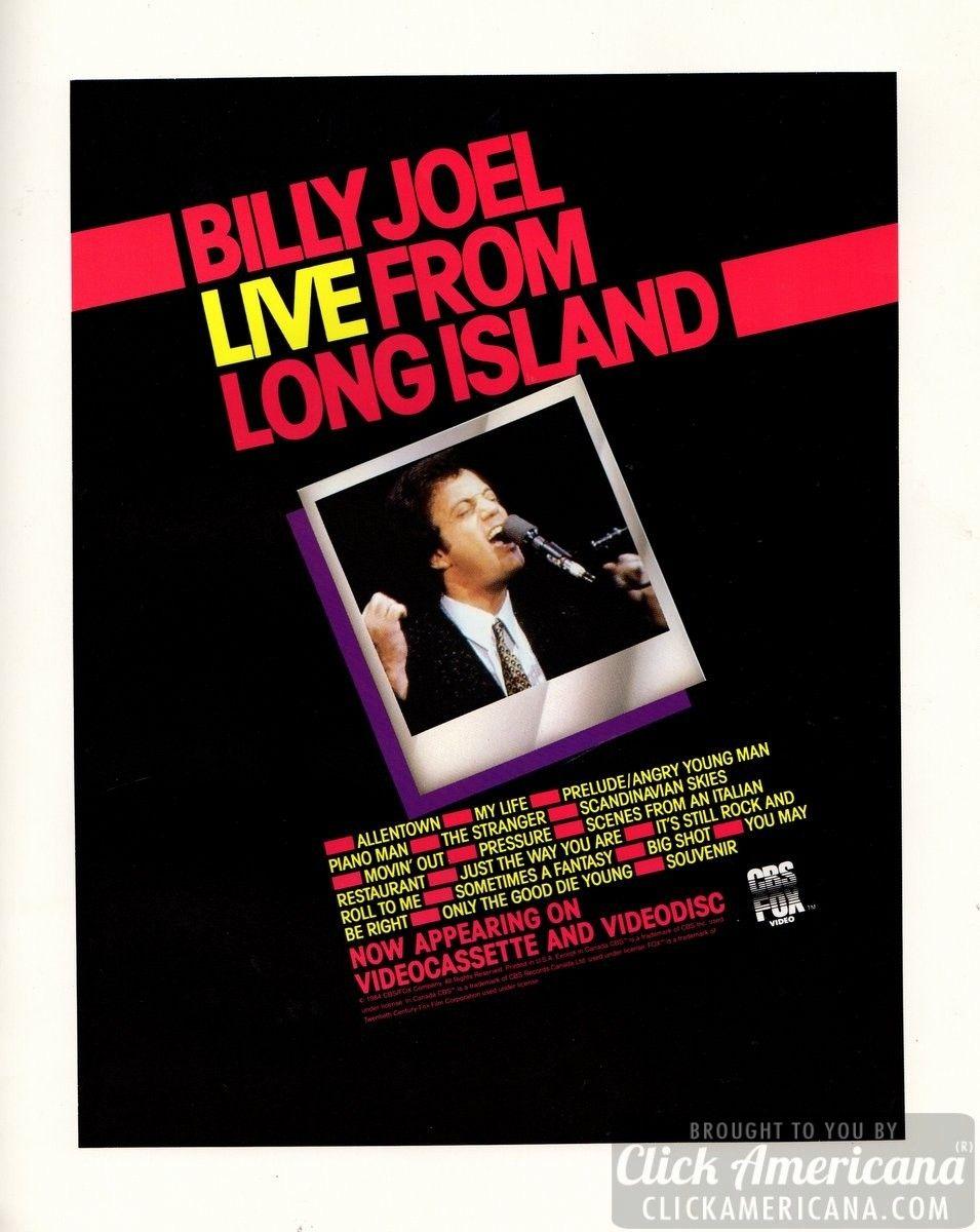 Billy Joel Souvenir Tour Program 1984 Click Americana Billy Joel Vintage Music Concert Posters