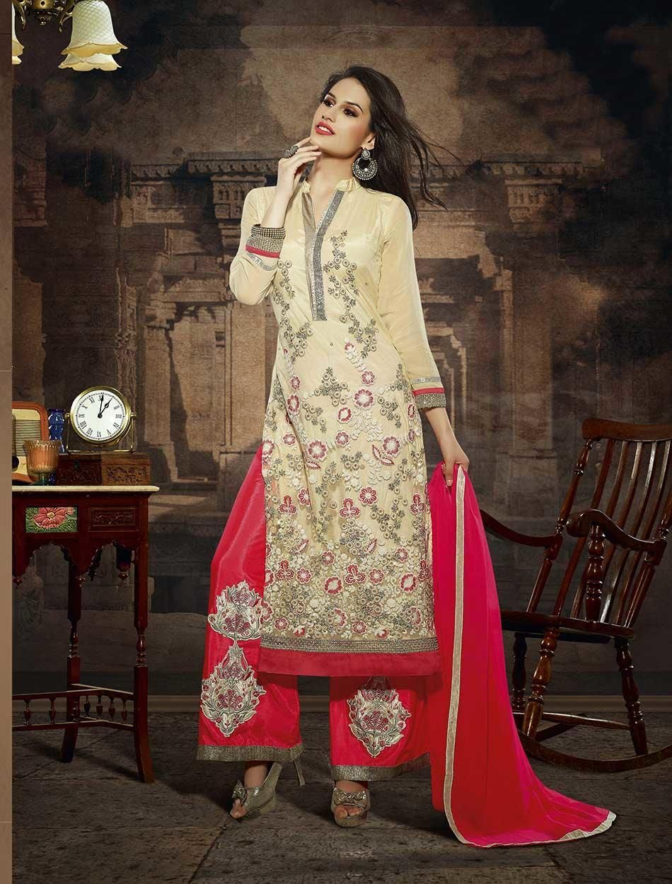 Shirt design with plazo - Designer New Style Heavy Embroideried Cream And Red Straight Plazo Suits