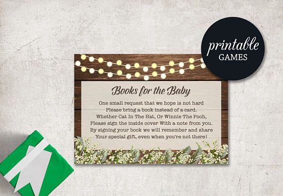 Baby Shower Card Printable ~ Baby shower book request bring a book instead of a card baby