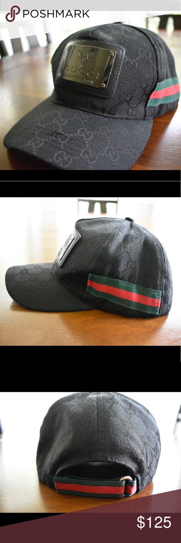 68eba4a15734 Gucci baseball cap Black Gucci hat with green and red side bands. Metal
