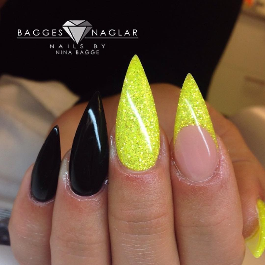 Cute Nail Art Inspo Nails Neon Yellow Glitter And Black Stiletto
