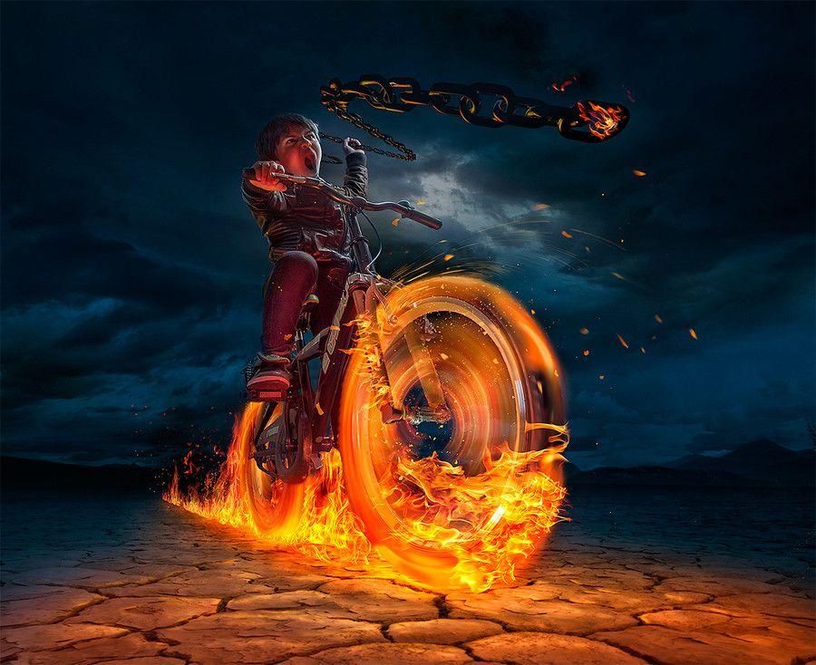 ghost rider by BennyKusnoto on DeviantArt  |Ghost Rider Digital Painting Photoshop