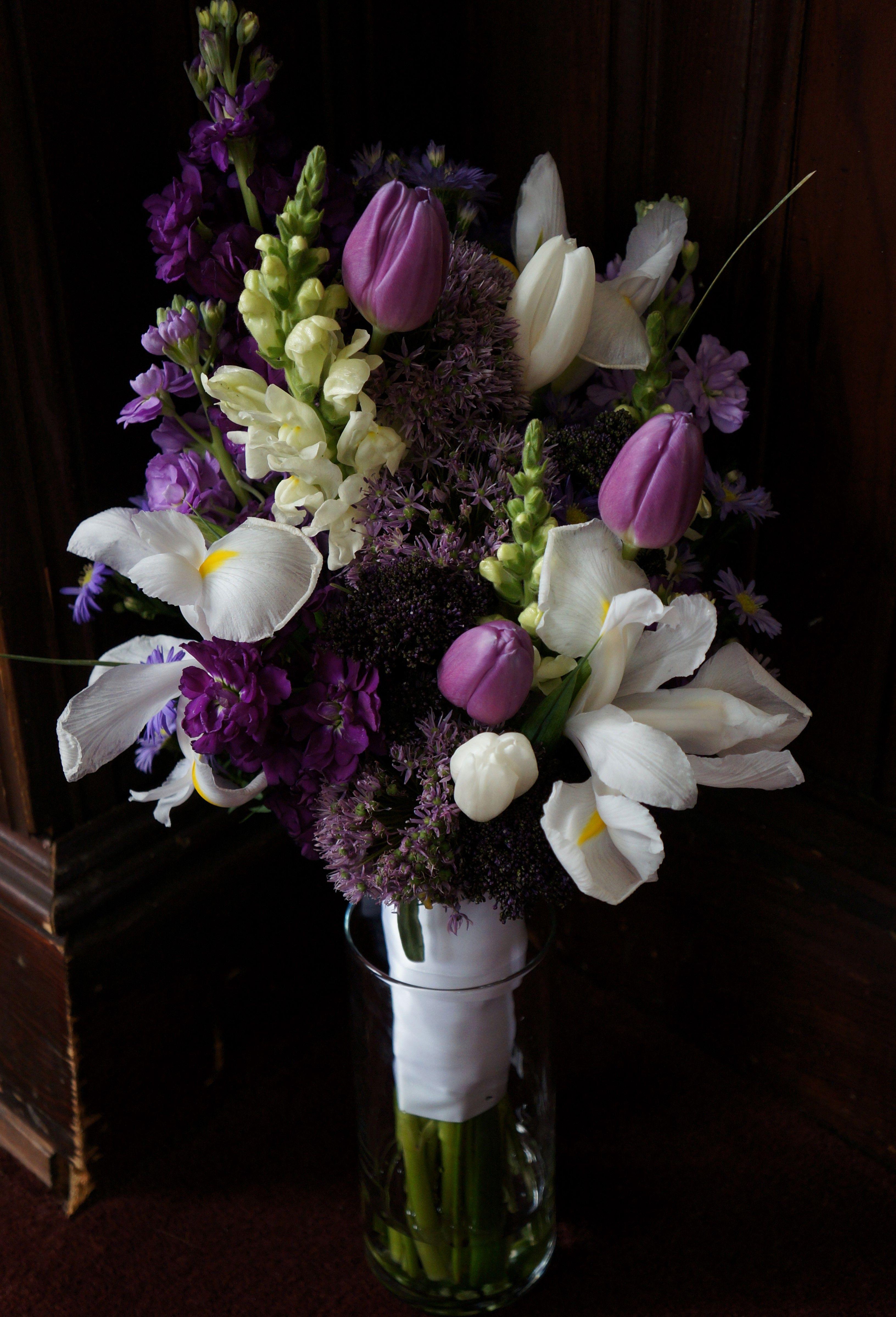 Bouquet full of spring flowers, allium, tulip, iris, snapdragons ...