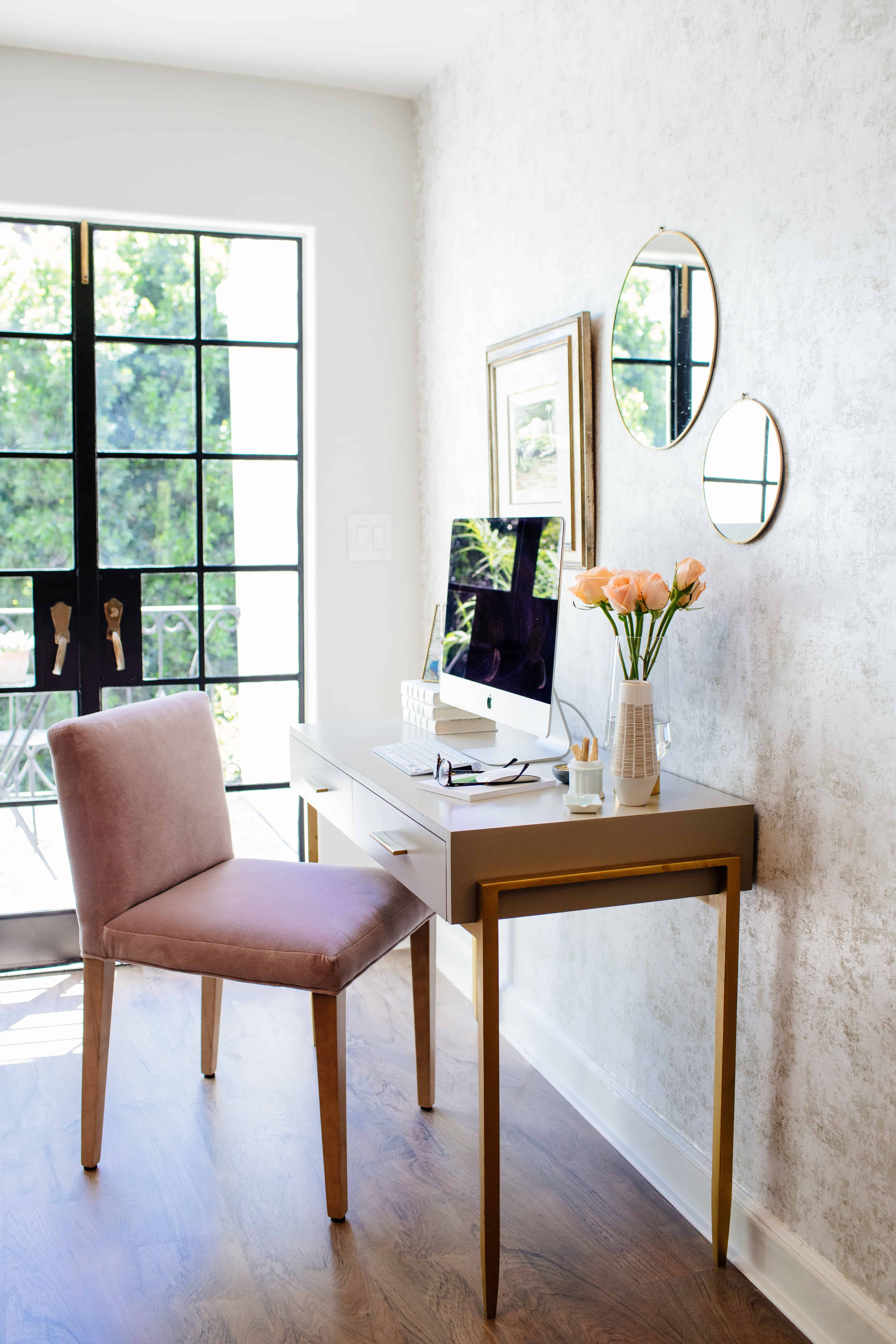 Tiffani Thiessen Added A Workspace And Accented With Tempaper Distressed Gold Leaf Pearl Removable Wallpaper Luxury Chairs Home Trending Decor