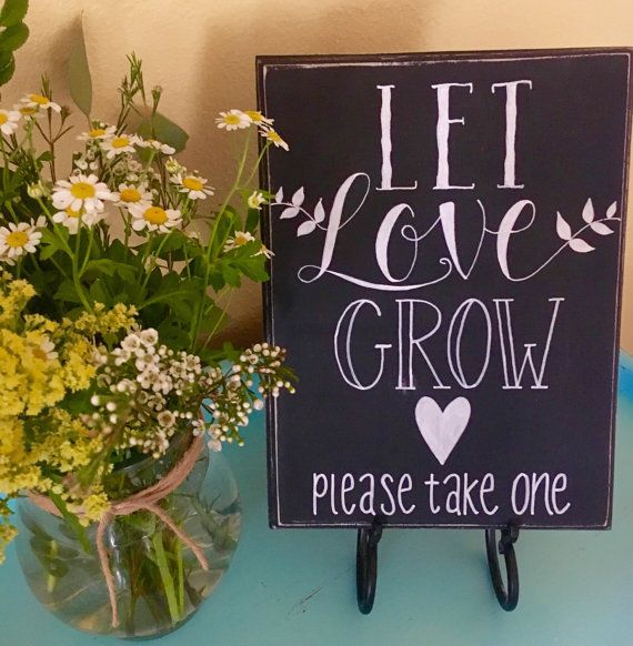 Let Love Grow Wedding Sign Succulent Favor Air Plant By Loulane