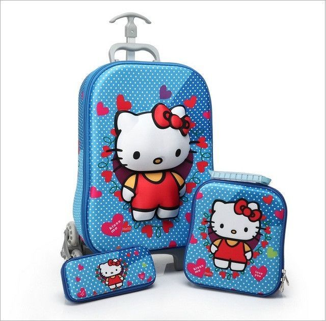 3PCS/set lovely hello kitty kids Luggage Travel 3D stereo Pull rod ...