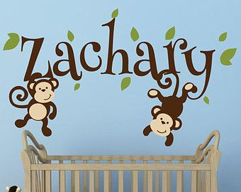 Girls Monkey Name Decal Monkey Decal Swinging Monkey Decal Nursery - Jungle themed nursery wall decals
