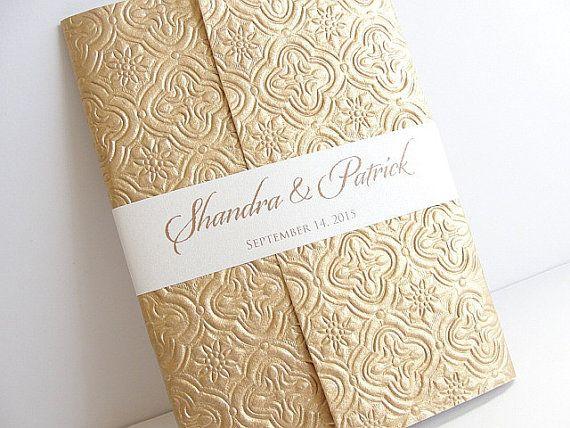 Gold Embossed Wedding Invitations: Brocade Wedding Invitation, Wedding Invite, Gold Embossed