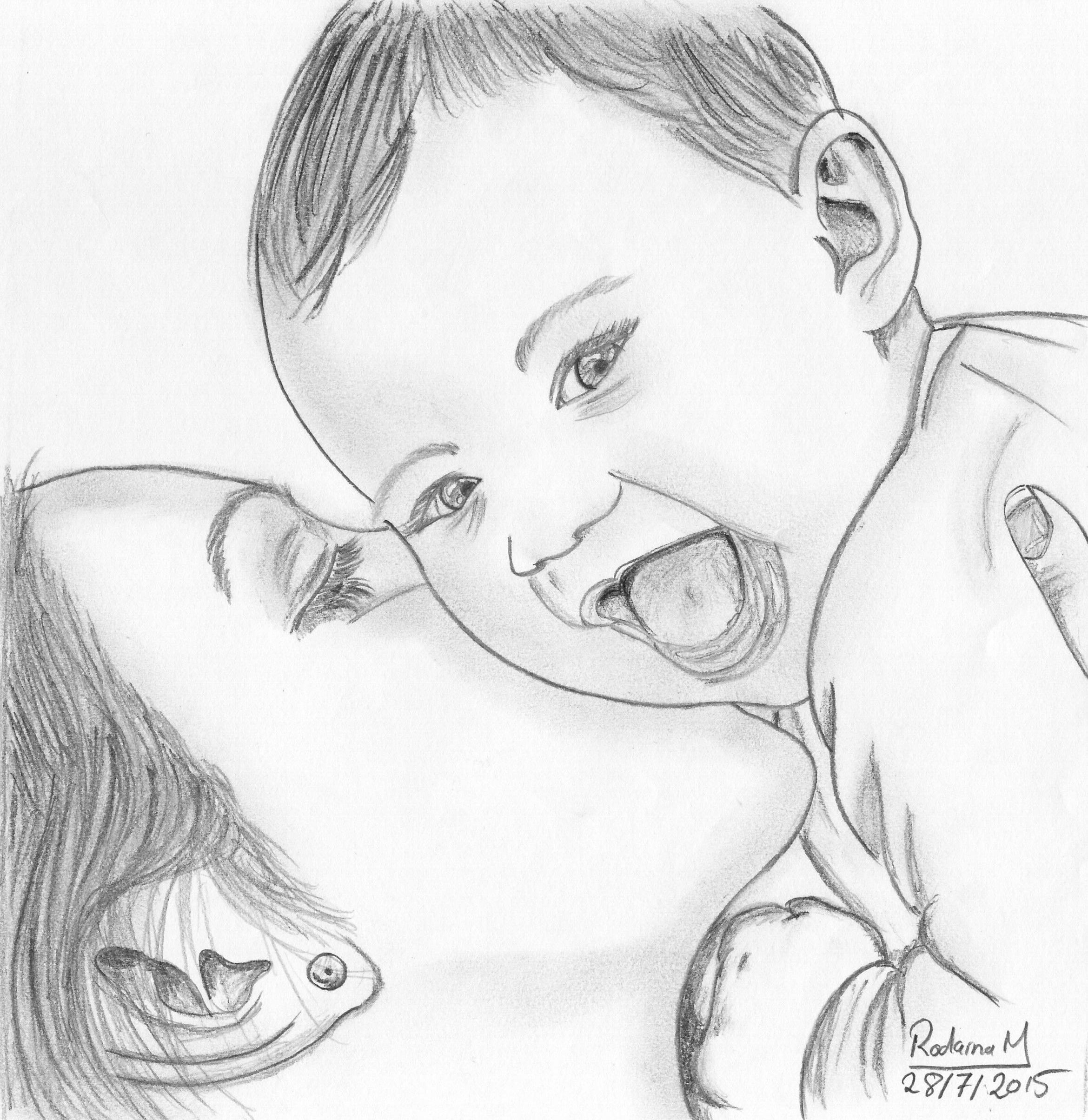 Smile to the camera drawn in 2015 pencil sketch portrait baby motherhood mum joy