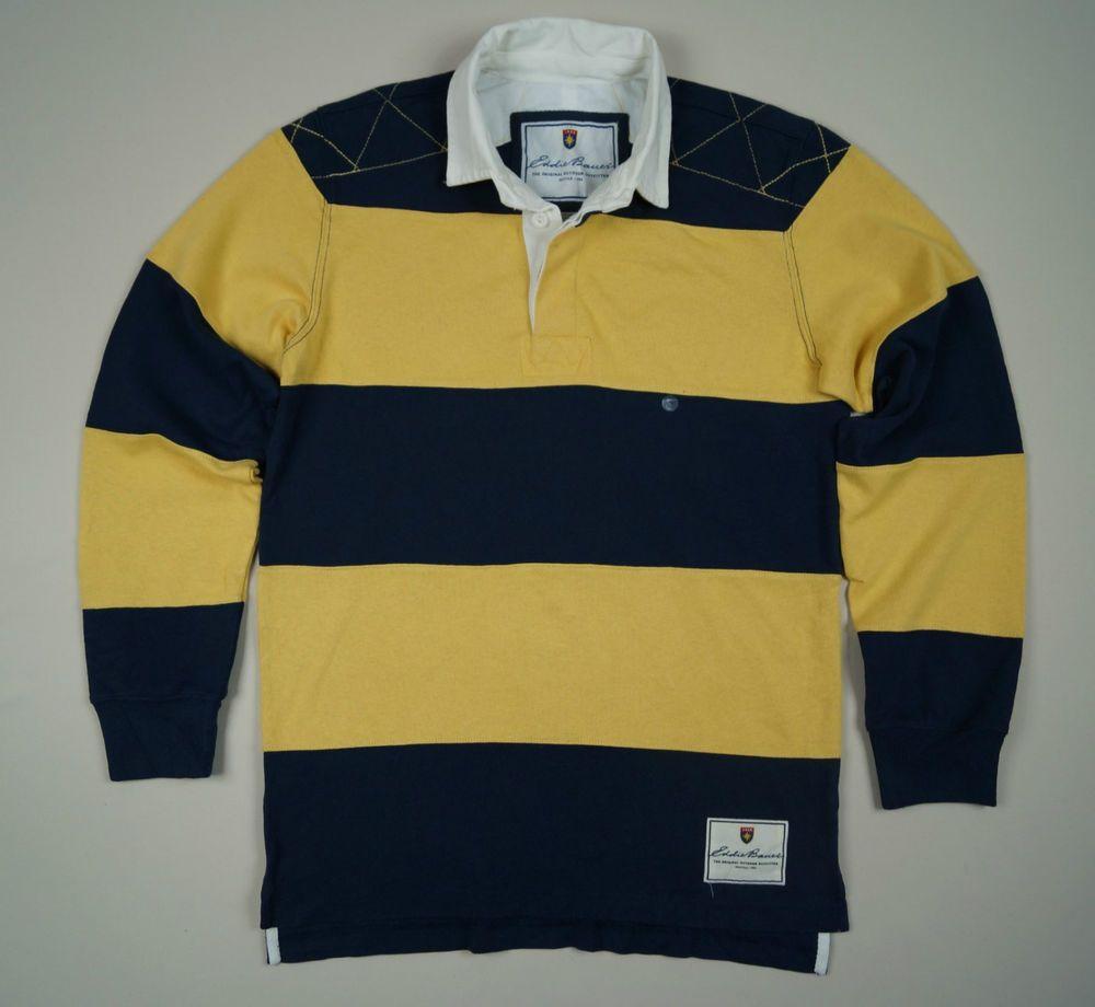 a126288867c Eddie Bauer Rugby Men s Polo Shirt Jumper Size S Yellow Navy Blue Stripes  Cotton