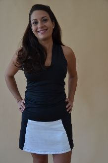 Colleen colorblock Golf Skort Black & White - Made in Chicago of US milled fabrics.