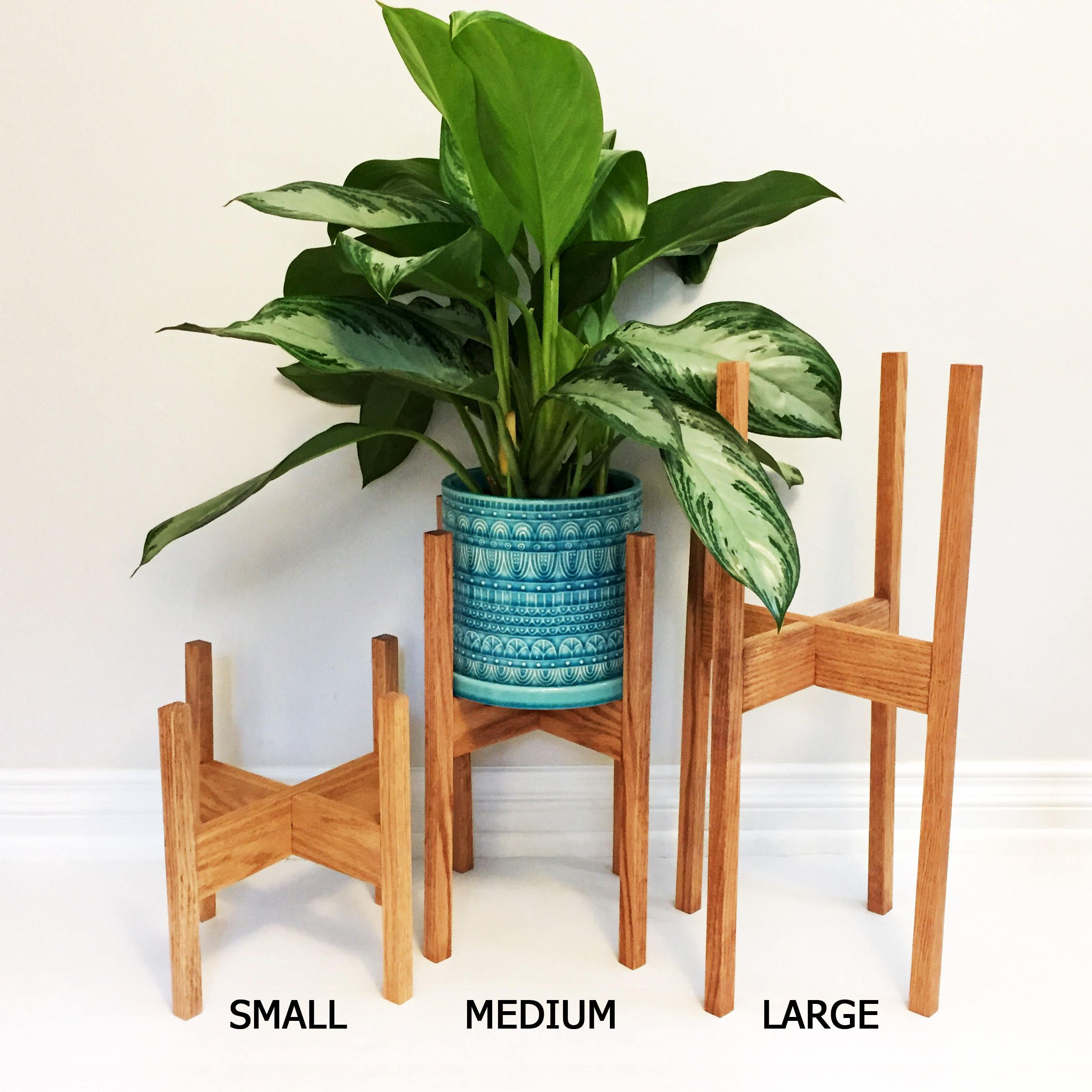 Plant Stand Modern Small Mid Century Modern Plant Stand In Oak Wood In 2019