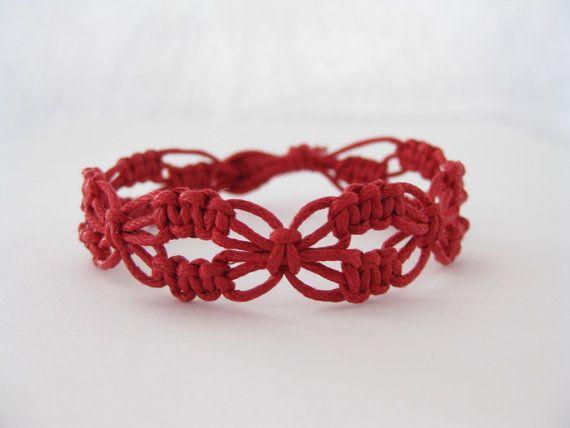Macrame Bracelet Pattern Red Lacy Macrame Bracelet