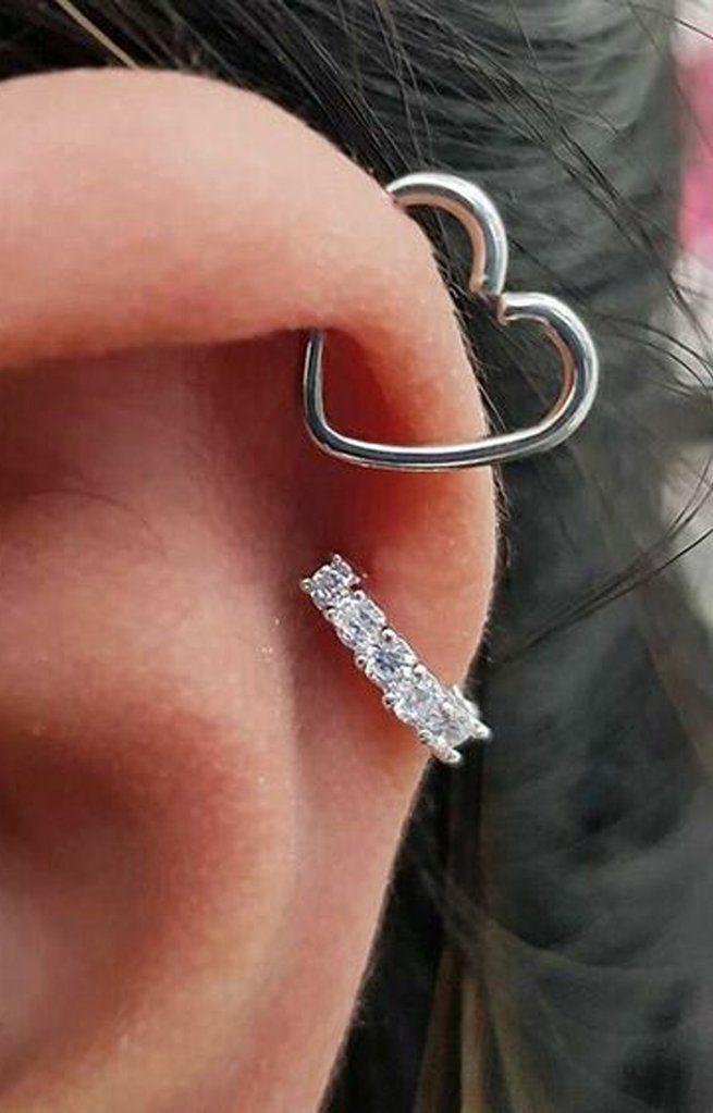 Süßes Herz Knorpel Ohr Piercing Ideen für Frauen ziemlich feminine Helix Herz #earpiercingideas