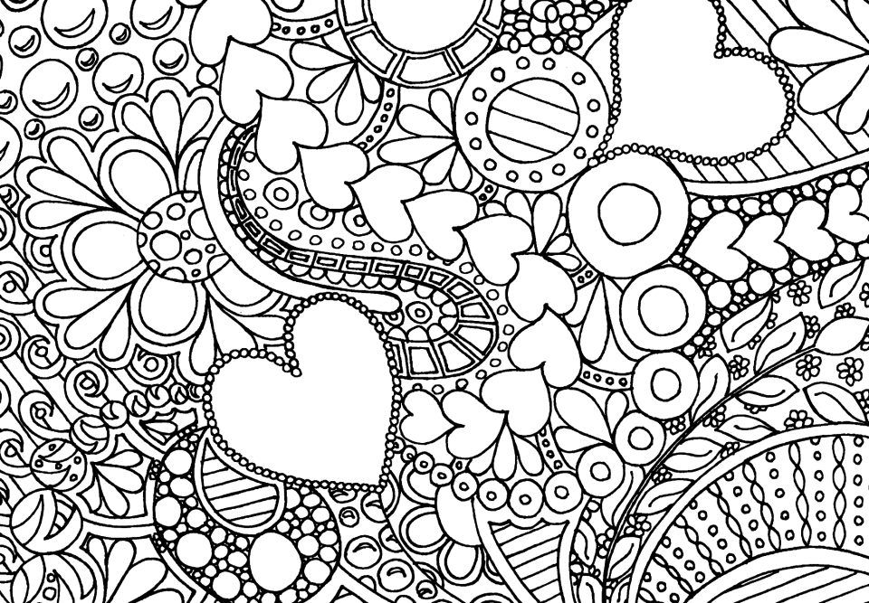 Hearts And Flowers Geometric Coloring Pages Abstract Coloring