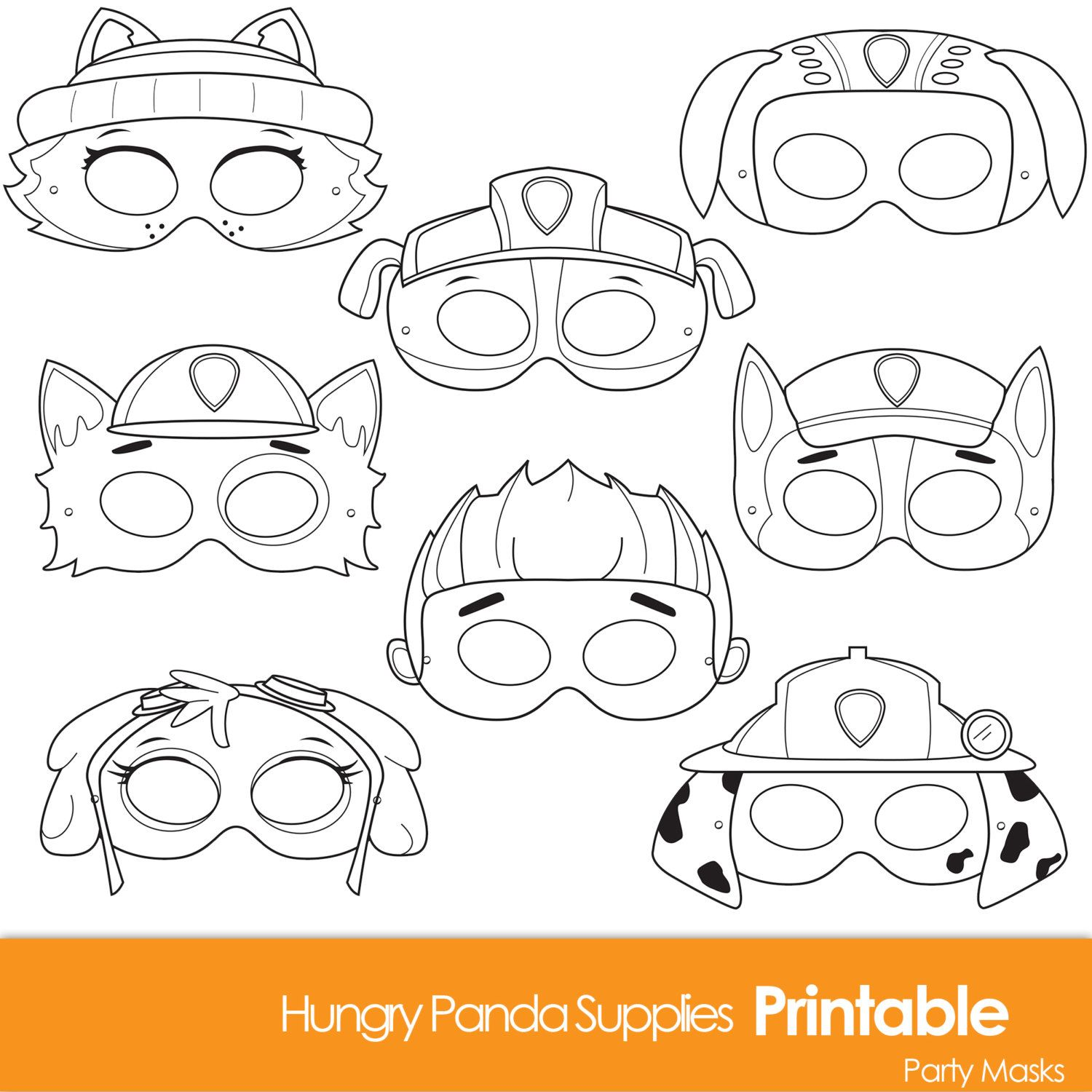 Paws Printable Coloring Masks, dog masks, printable masks, color ...