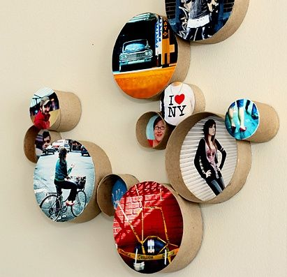 Create a DIY Photo Gallery with Style • Lots of Ideas & Tutorials! Including these cool cardboard ring frames from photojojo.