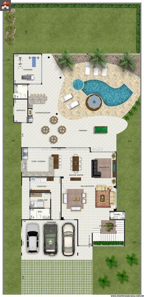Sobrado 4 Quartos - 51058m² Só vai Pinterest House