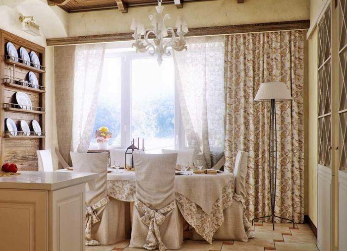 landhausstil gardinen toile de jouy französischer stil muster, Schlafzimmer entwurf