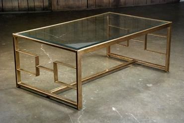 Heavy Bronze Finished Geometric Frame Coffee Table With Glass Top And Bottom Brass Stretcher Steel With