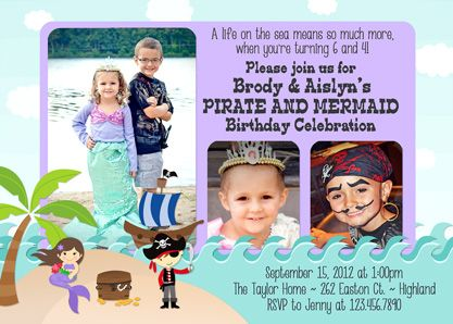 pirate mermaid joint birthday party invitations twins 1st birthday