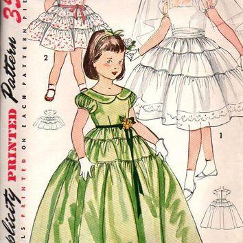 Simplicity 4135 Sewing Pattern 1950s Girls Tea Garden Dress ...