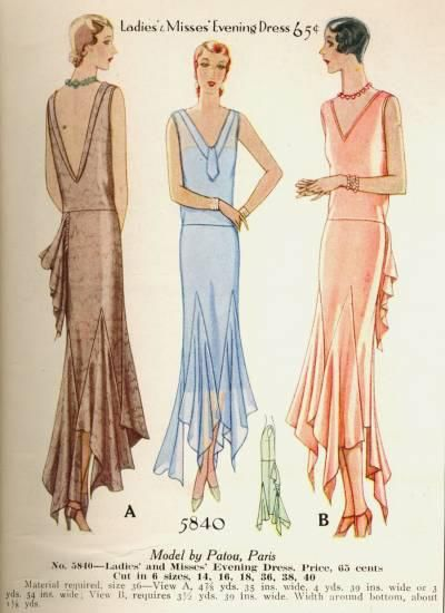 McCall 5840 by Patou | 1930s Ladies\' & Misses\' Evening Dress ...