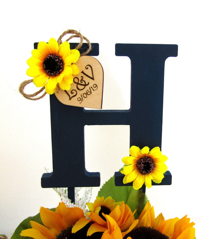 Monogram wedding cake topper navy with sunflowers