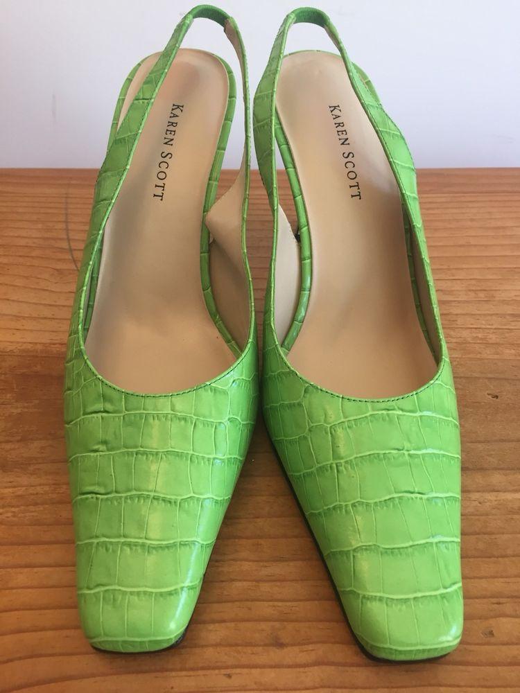 badf024e23a7f Karen Scott Size 7.5 M Leather Lime Green Croc Slingbacks Mason ...