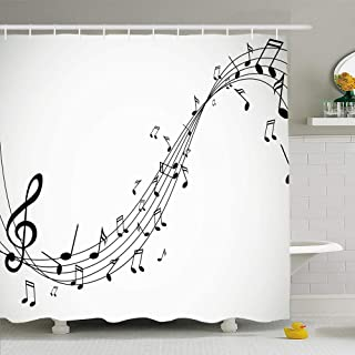 Amazon Com Music Note Shower Curtain Hooks Stencil Wall Art