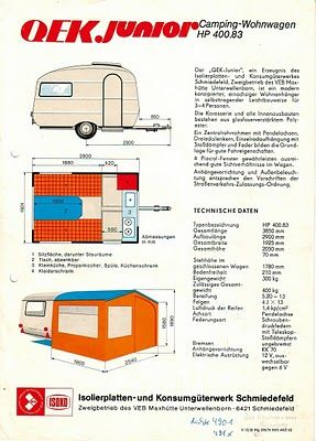 qek junior spec sheet 1965 camp pinterest wohnwagen. Black Bedroom Furniture Sets. Home Design Ideas