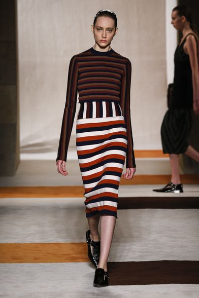 ghd | Guido Palau | Victoria Beckham Autumn / Winter Collection 2016, New York Fashion Week. Model wears: Fitted Jacket | Bubble Skirt | Stripe Poloneck #ghdXvb
