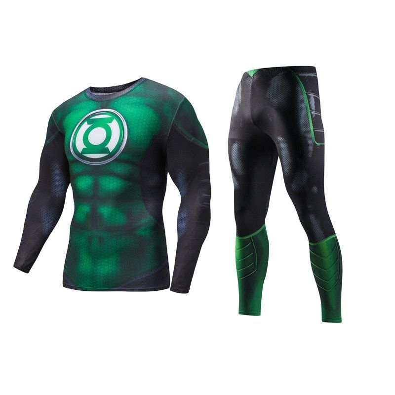 Full T Shirts Sets Tights Pants Men Tracksuit Superman Fitness Suits Sportwears