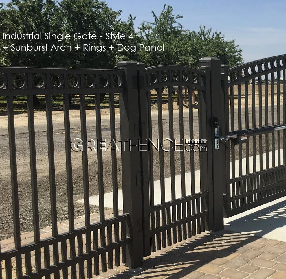 Industrial Single Swing Aluminum Gate S4 Smooth Flat Top Aluminium Gates Metal Driveway Gates Iron Gates