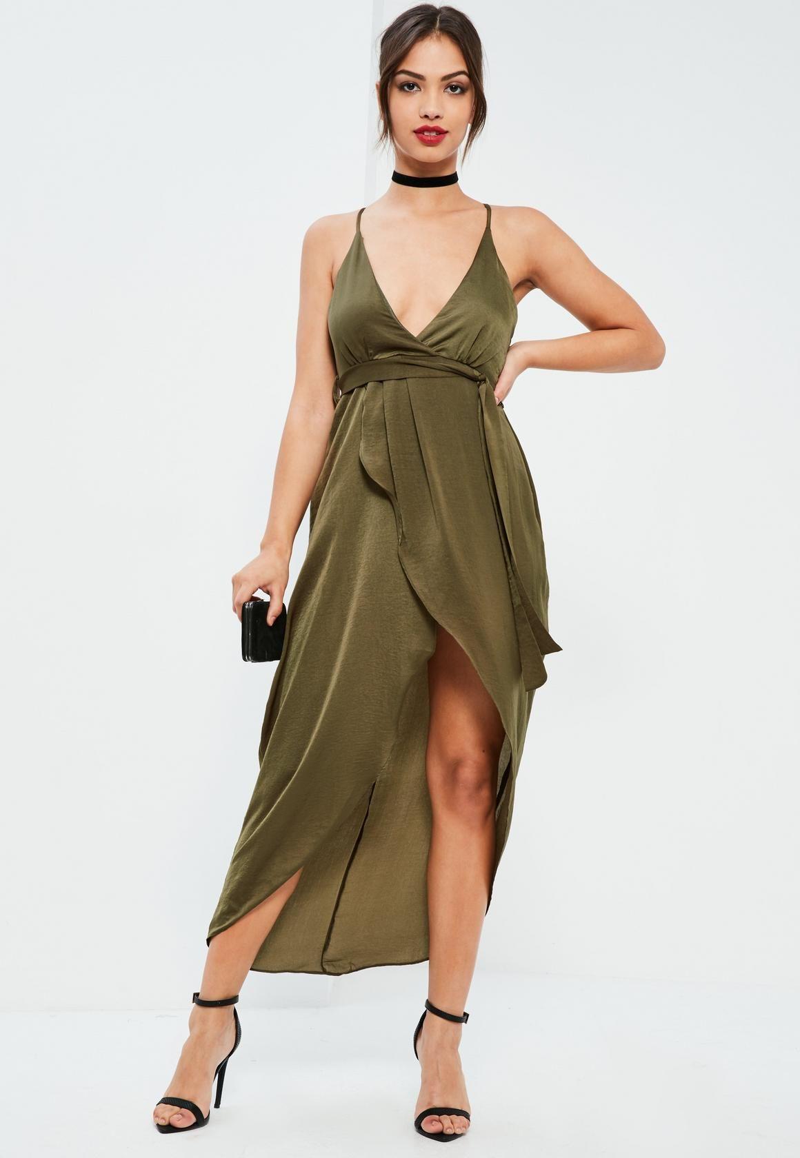 Missguided - Khaki Silky Plunge Asymmetric Wrap Midi Dress