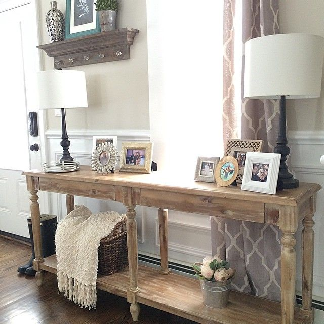 Good Morning I Have Been Itching To Restyle My Everett Foyer Table From Worldmarket For A Few Months Sofa Table Decor Farmhouse Sofa Table Foyer Table Decor
