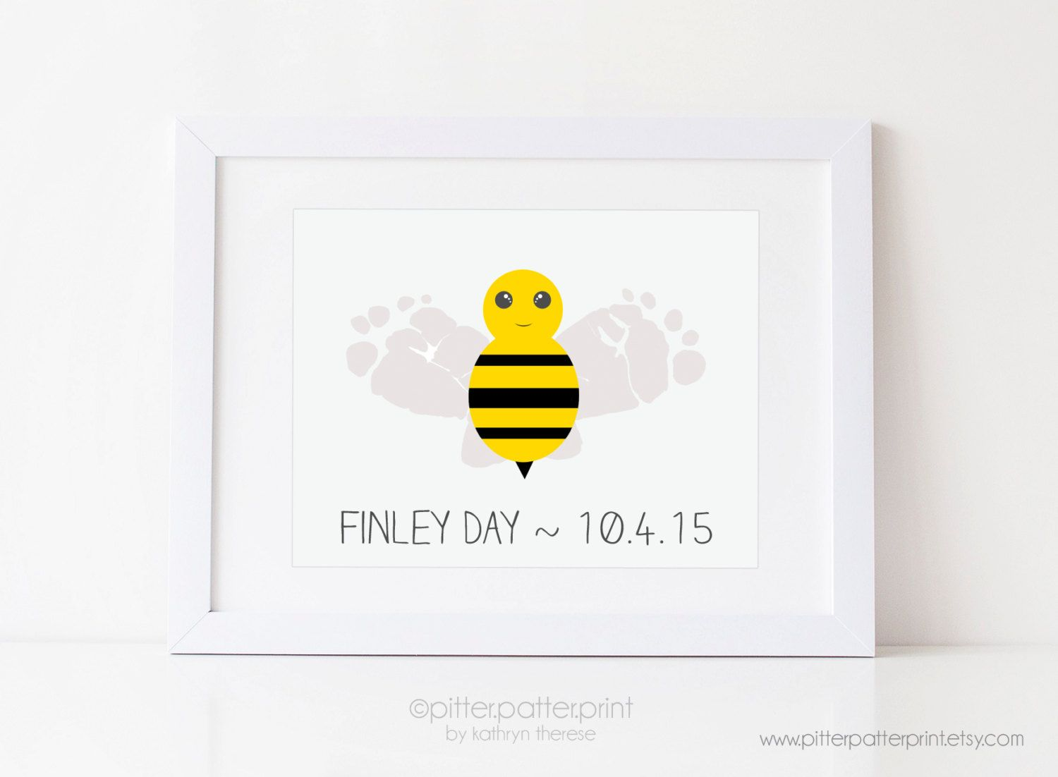 Bumble Bee Nursery Decor Baby Footprint Art Print Yellow Personalized Wall