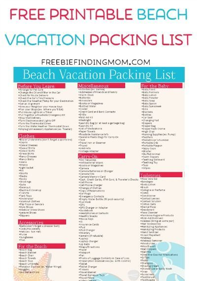 Free Printable Beach Vacation Packing List  Beach Vacation Packing