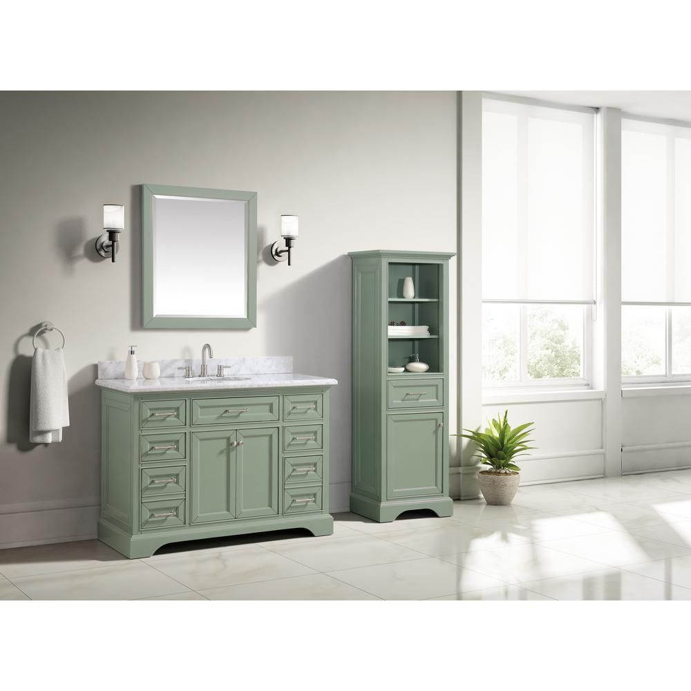 Home Decorators Collection Windlowe 49 In W X 22 In D X 35 In H Bath Vanity In Green With Carrera Marble Vanity Top In White With White Sink 15101 Vs49c Sg In 2020