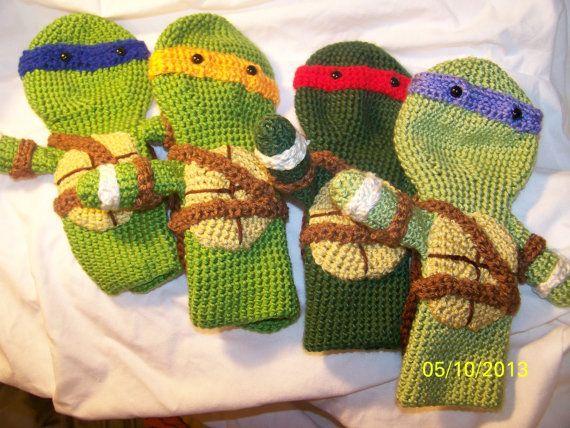 Crochet Teenage Ninja Turtles golf club covers set of all 4 Turtles ...