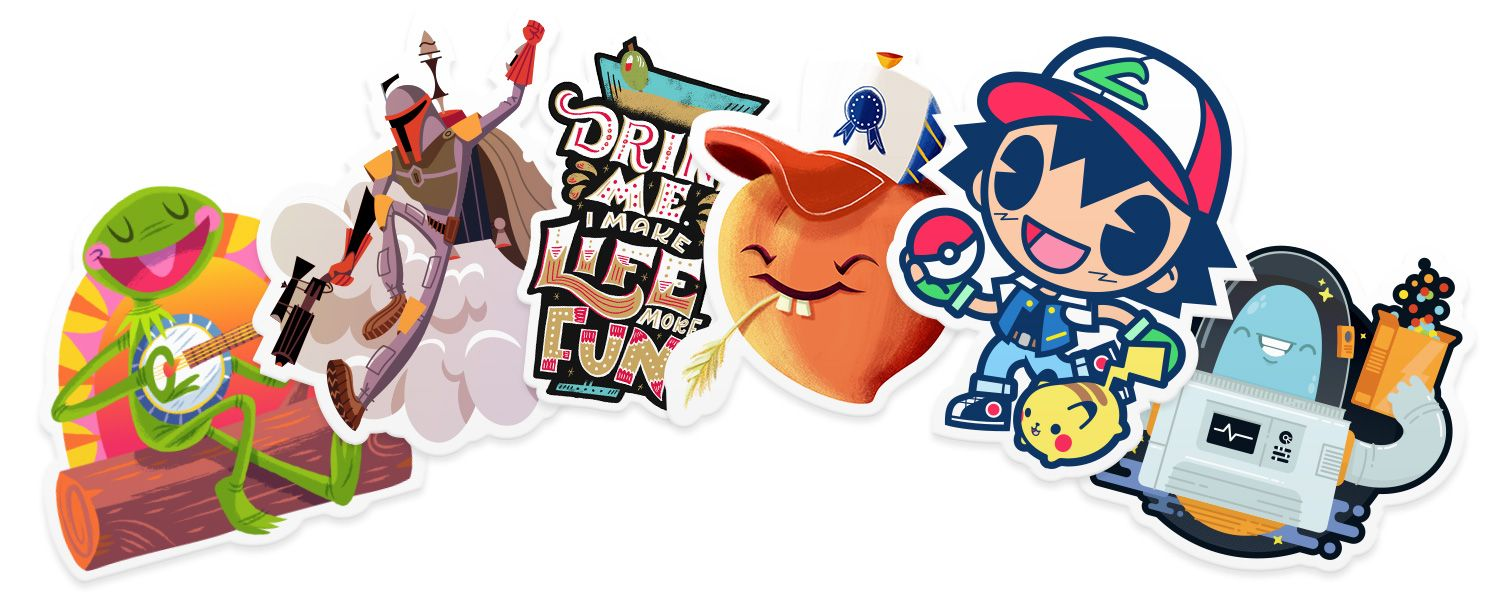 Home slap stickers with images character design