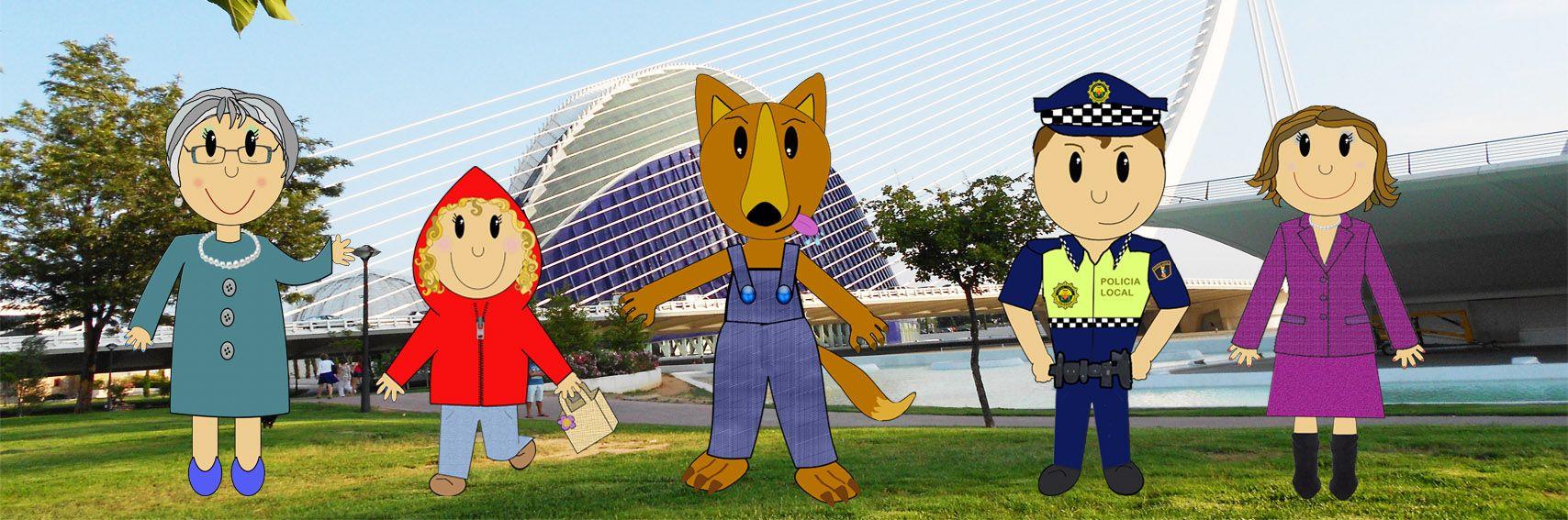 Aquí están todos los personajes del cuento Capucheta en Valencia.