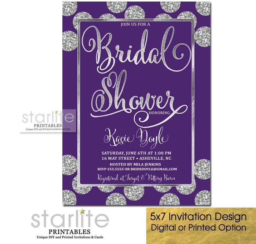 a glittery glam purple bridal shower invitation with simulated silver glitter