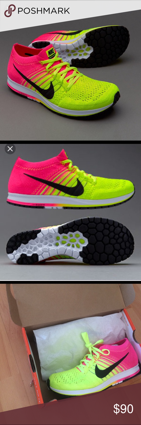 online store 87a8c 0ad29 Nike flyknit streak OC unisex sneaker Nike Flyknit Streak OC unisex  athletic shoe. Multicolor pink yellow black. These shoes are so lightweight  and ...