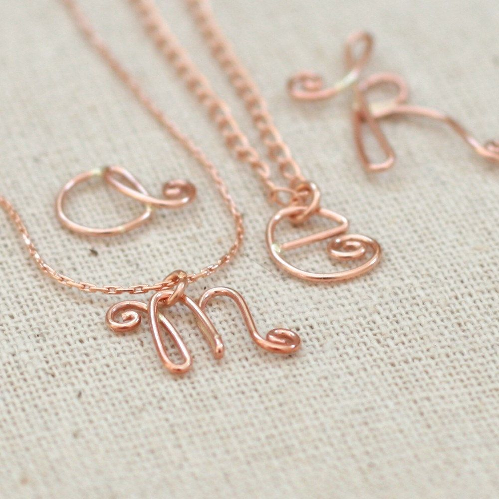 rose gold initial necklace. alphabet letters. wire letter ...