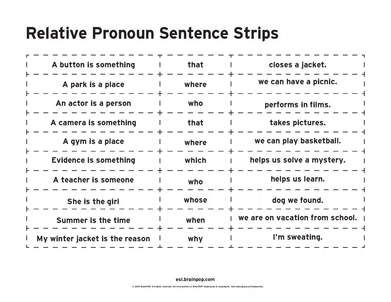 17 Relative Pronouns Worksheet 4th Grade In 2020 Pronoun Sentences Relative Pronouns Sentence Strips